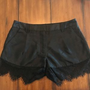 Black Shorts with Lace Trim